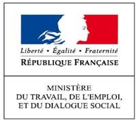 Ministére du travail, de l'emploi et du dialogue social, logo.